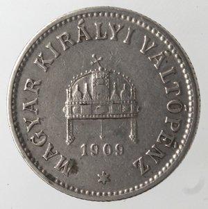 obverse: Monete Estere. Ungheria. Francesco  Giuseppe I. 10 Filler 1909. Ni. MB. Graffi.