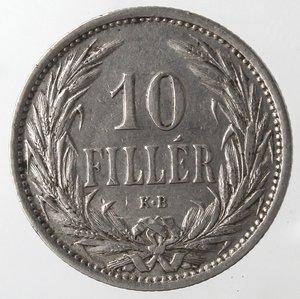 reverse: Monete Estere. Ungheria. Francesco  Giuseppe I. 10 Filler 1909. Ni. MB. Graffi.