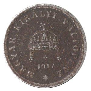 obverse: Monete Estere. Ungheria. Carlo I. 2 Filler 1917. Fe. MB.