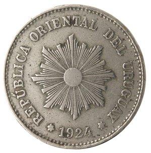 obverse: Monete Estere. Repubblica Oriental dell Uruguay. 5 centesimos 1924. Ae-Ni. MB. Colpi al bordo e corrosioni.