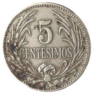reverse: Monete Estere. Repubblica Oriental dell Uruguay. 5 centesimos 1924. Ae-Ni. MB. Colpi al bordo e corrosioni.