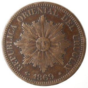 obverse: Monete Estere. Repubblica Oriental dell Uruguay. 4 centesimos 1869. Br. Zecca A. qBB. Colpetti al bordo.