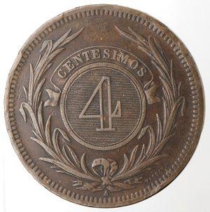 reverse: Monete Estere. Repubblica Oriental dell Uruguay. 4 centesimos 1869. Br. Zecca A. qBB. Colpetti al bordo.