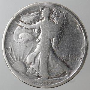 reverse: Monete Estere. Usa. Mezzo Dollaro Libertà 1917. Ag. qMB.