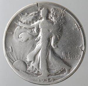 reverse: Monete Estere. Usa. Mezzo Dollaro Libertà 1934. Ag. MB. Tagli al bordo.