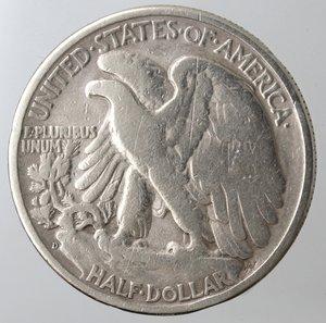 obverse: Monete Estere. Usa. Mezzo Dollaro Libertà 1936 D. Ag. MB. Colpo al bordo.
