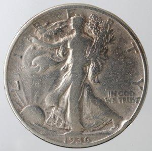 reverse: Monete Estere. Usa. Mezzo Dollaro Libertà 1936 D. Ag. MB. Colpo al bordo.