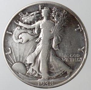 reverse: Monete Estere. Usa. Mezzo Dollaro Libertà 1938. Ag. MB+.