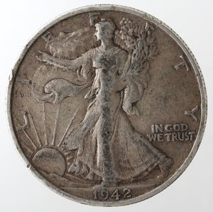 reverse: Monete Estere. Usa. Mezzo Dollaro Libertà 1942 S. Ag. MB.
