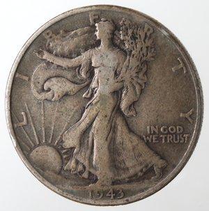 reverse: Monete Estere. Usa. Mezzo Dollaro Libertà 1943. Ag. MB.