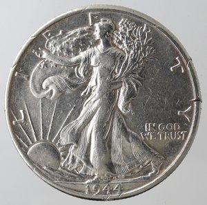 reverse: Monete Estere. Usa. Mezzo Dollaro Libertà 1944 D. Ag. MB. Tagli al bordo.