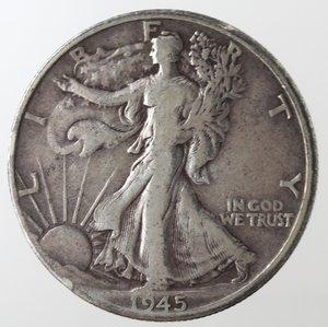 reverse: Monete Estere. Usa. Mezzo Dollaro Libertà 1945 D. Ag. MB.