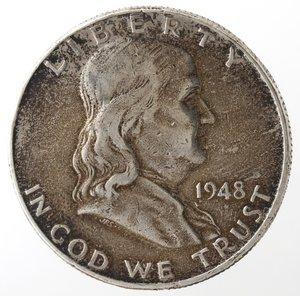 obverse: Monete Estere. Usa. Mezzo Dollaro Franklin 1948 D. Ag. MB-BB.