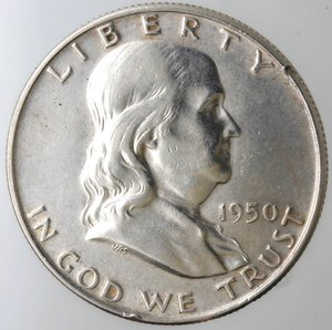 obverse: Monete Estere. Usa. Mezzo Dollaro Franklin 1950 D. Ag. qBB.
