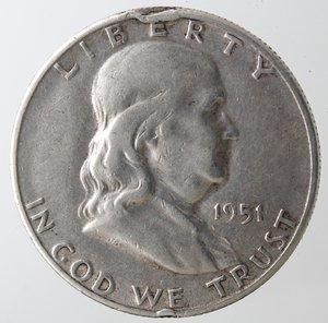 obverse: Monete Estere. Usa. Mezzo Dollaro Franklin 1951 S. Ag. qBB. Colpi al bordo.
