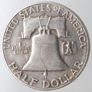 reverse: Monete Estere. Usa. Mezzo Dollaro Franklin 1951 S. Ag. qBB. Colpi al bordo.