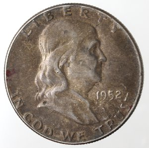 obverse: Monete Estere. Usa. Mezzo Dollaro Franklin 1952. Ag. qBB.
