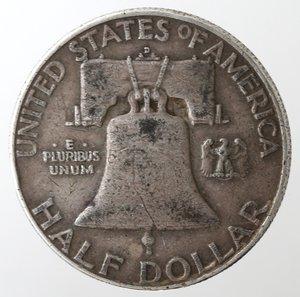 reverse: Monete Estere. Usa. Mezzo Dollaro Franklin 1952 D. Ag. qBB.