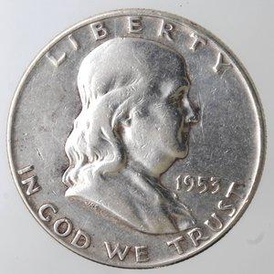 obverse: Monete Estere. Usa. Mezzo Dollaro Franklin 1953 D. Ag. BB.