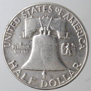 reverse: Monete Estere. Usa. Mezzo Dollaro Franklin 1953 D. Ag. BB.