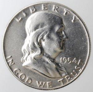 obverse: Monete Estere. Usa. Mezzo Dollaro Franklin 1954 D. Ag. qBB. Colpo al bordo.