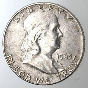obverse: Monete Estere. Usa. Mezzo Dollaro Franklin 1963 D. Ag. BB.