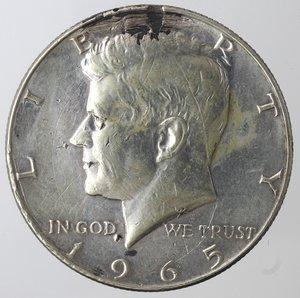 obverse: Monete Estere. Usa. Mezzo Dollaro Kennedy 1965. Ag 400. MB. Colpi al bordo.