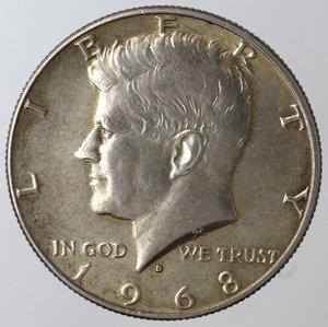 obverse: Monete Estere. Usa. Mezzo Dollaro Kennedy 1968 D. Ag 400. BB+.