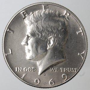 obverse: Monete Estere. Usa. Mezzo Dollaro Kennedy 1969 D. Ag 400. BB.