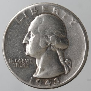 obverse: Monete Estere. Usa. Quarto di Dollaro Washington 1943. Ag. MB.