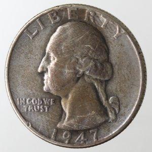 obverse: Monete Estere. Usa. Quarto di Dollaro Washington 1947. Ag. MB.