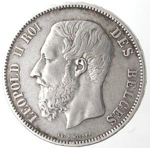 obverse: Monete Estere. Belgio. Leopoldo II. 1865-1909. 5 Franchi 1867. Ag. KM 24. Peso gr. 24,80. Diametro mm. 37,20. BB.