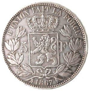 reverse: Monete Estere. Belgio. Leopoldo II. 1865-1909. 5 Franchi 1867. Ag. KM 24. Peso gr. 24,80. Diametro mm. 37,20. BB.