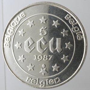 obverse: Monete Estere. Belgio. Baldovino I. 1951-1993.5 ecu 1987 trentennale trattati di Roma. Ag.R/ Carlo V. KM 166. Peso gr. 23. Diametro mm. 37. qFDC.