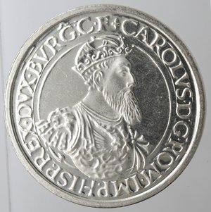 reverse: Monete Estere. Belgio. Baldovino I. 1951-1993.5 ecu 1987 trentennale trattati di Roma. Ag.R/ Carlo V. KM 166. Peso gr. 23. Diametro mm. 37. qFDC.