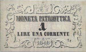 obverse: Banconote. Venezia. Moneta Patriottica da 1 Lira. 1848. BB.