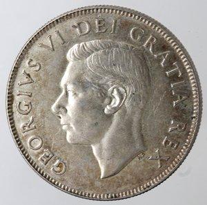 obverse: Monete Estere. Canada.Giorgio VI.Mezzo Dollaro 1952. AG 800. Km. 45. Peso gr. 11,67.qSPL-SPL+.
