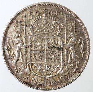 reverse: Monete Estere. Canada.Giorgio VI.Mezzo Dollaro 1952. AG 800. Km. 45. Peso gr. 11,67.qSPL-SPL+.