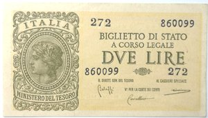 obverse: Banconote. Regno D Italia. 2 lire. Italia Laureata. Dec. Min.  23-11-1944. Gig. BS9A. qFDS.