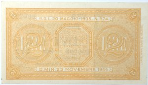 reverse: Banconote. Regno D Italia. 2 lire. Italia Laureata. Dec. Min.  23-11-1944. Gig. BS9A. qFDS.