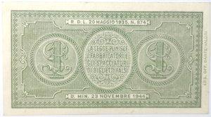 reverse: Banconote. Regno D Italia. 1 lira Italia Laureata. Dec. Min.  23-11-1944. Gig. BS5B. SPL+.