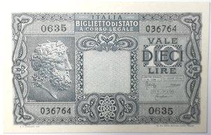 obverse: Banconote. Luogotenenza. 10 lire Giove. Dec. Min.  23-11-1944. Gig. BS19C. FDS.