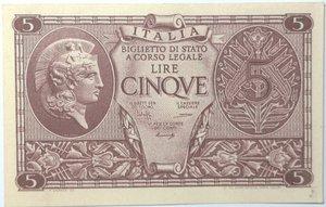 obverse: Banconote. Luogotenenza. 5 lire. Atena Elmata. Dec. Min. 23-11-1944. Gig. BS14B.  qFDS.