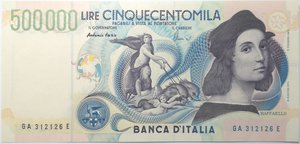 obverse: Banconote. Repubblica Italiana. 500.000 lire Raffaello. 1997. Gig.BI86A. Unghiata in alto a destra altrimenti FDS.