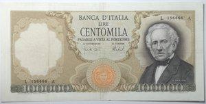 obverse: Banconote. Repubblica Italiana. 100.000 lire Alessandro Manzoni. Dec. Min. 6-02-1974. Gig. BI85C. Tracce di pieghe stirate, foro in alto a destra, nel complesso. BB/BB+. R.