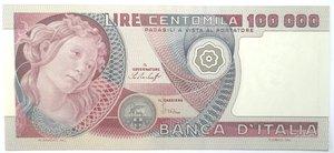 obverse: Banconote. Repubblica Italiana. 100.000 lire. Botticelli. Dec. Min. 20-06-1978. Gig. BI83A. SUP/qFDS.