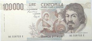obverse: Banconote. Repubblica Italiana. 100.000 lire. Caravaggio. 1° tipo. 1992. Gig. BI84E. BB.