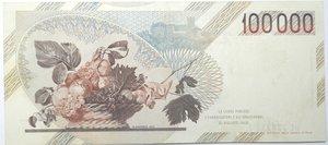 reverse: Banconote. Repubblica Italiana. 100.000 lire. Caravaggio. 1° tipo. 1992. Gig. BI84E. BB.