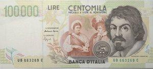 obverse: Banconote. Repubblica Italiana. 100.000 lire. Caravaggio. 2° tipo. 1995. Gig.BI85B. BB.