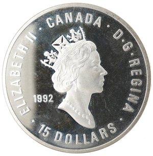 obverse: Monete Estere. Canada.Elisabetta II.15 Dollari 1992. Ginnastica. AG 925. Km. 216. Peso gr. 33,90. Diametro mm. 38.FDC Proof.Patina.